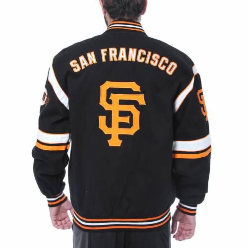 JH DESIGN ジャイアンツ ロゴ 黒 ブラック メンズファッション コート ジャケット メンズ 【 San Francisco Giants Embroidered Logo Twill Full-snap Jacket - Black 】 Black