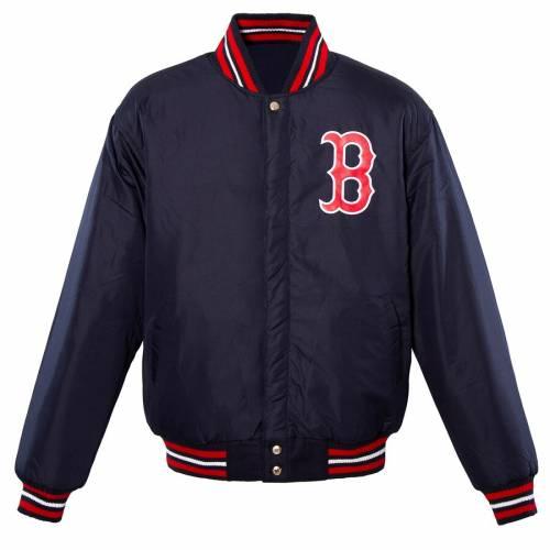 JH DESIGN ボストン 赤 レッド ロゴ リバーシブル 紺 ネイビー メンズファッション コート ジャケット メンズ 【 Boston Red Sox Embroidered Logo Reversible Wool Full-snap Jacket - Navy 】 Navy
