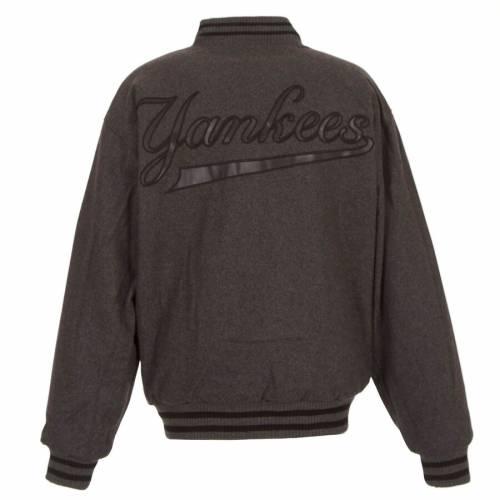 JH DESIGN ヤンキース チーム ロゴ チャコール メンズファッション コート ジャケット メンズ 【 New York Yankees Team Logo Wool Full-snap Jacket - Charcoal 】 Charcoal