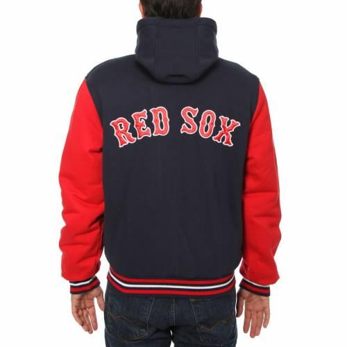 JH DESIGN ボストン 赤 レッド フリース 紺 ネイビー メンズファッション コート ジャケット メンズ 【 Boston Red Sox Fleece Varsity Full-snap Jacket - Navy 】 Navy