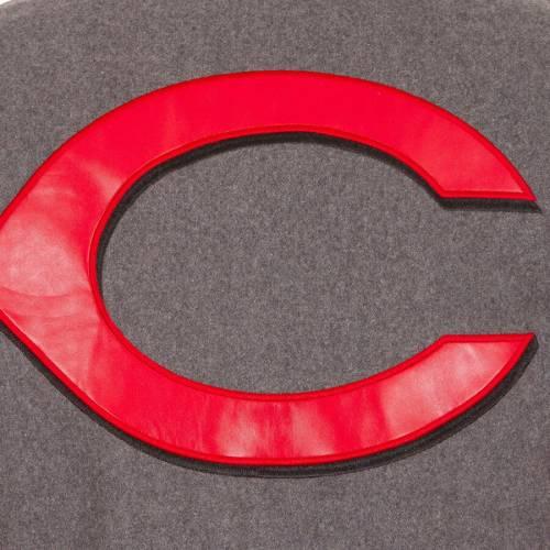 JH DESIGN シンシナティ レッズ ロゴ リバーシブル 灰色 グレー グレイ メンズファッション コート ジャケット メンズ 【 Cincinnati Reds Embroidered Logo Reversible Wool Varsity Full-snap Jacket - Gray 】 Gra