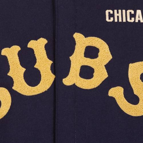 JH DESIGN シカゴ カブス レザー ロゴ 紺 ネイビー メンズファッション コート ジャケット メンズ 【 Chicago Cubs Wool And Leather Embroidered Logo Full-snap Jacket - Navy 】 Navy