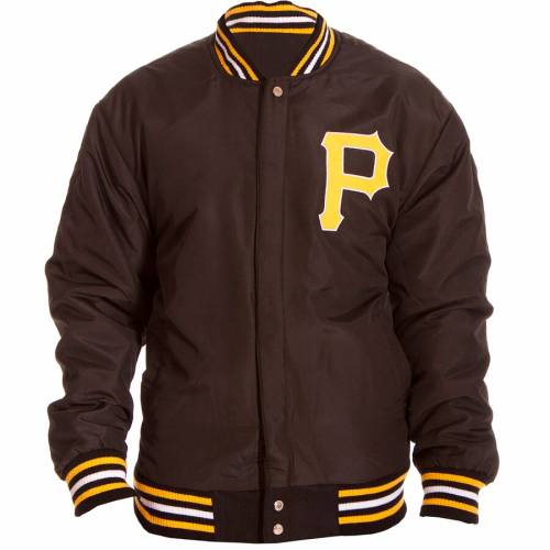 JH DESIGN ピッツバーグ 海賊団 ロゴ リバーシブル 黒 ブラック メンズファッション コート ジャケット メンズ 【 Pittsburgh Pirates Embroidered Logo Reversible Wool Full-snap Jacket - Black 】 Black