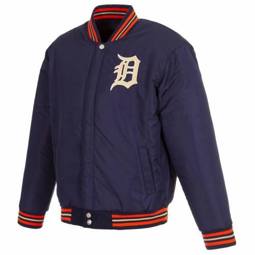 JH DESIGN デトロイト タイガース レザー リバーシブル ロゴ 紺 ネイビー メンズファッション コート ジャケット メンズ 【 Detroit Tigers Wool And Leather Reversible Chenille Logo Full-snap Jacket - Navy 】