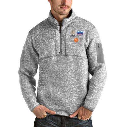 ANTIGUA タイガース カレッジ ヘザー 灰色 グレー グレイ メンズファッション コート ジャケット メンズ 【 Clemson Tigers College Football Playoff 2019 Fiesta Bowl Bound Fortune Quarter-zip Pullover Jacket - Heath