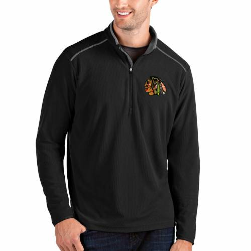 ANTIGUA シカゴ メンズファッション コート ジャケット メンズ 【 Chicago Blackhawks Glacier Quarter-zip Pullover Jacket - Black/gray 】 Black/gray