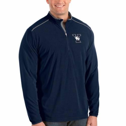 ANTIGUA 灰色 グレー グレイ メンズファッション コート ジャケット メンズ 【 Yale Bulldogs Big And Tall Glacier Half-zip Pullover Jacket - Gray 】 Navy