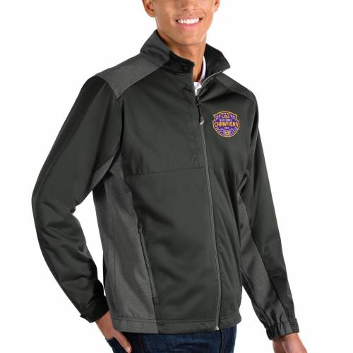 ANTIGUA タイガース カレッジ チャコール メンズファッション コート ジャケット メンズ 【 Lsu Tigers College Football Playoff 2019 National Champions Revolve Full-zip Jacket - Charcoal/heather Charcoal 】 Charcoal