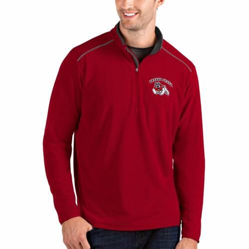 ANTIGUA スケートボード メンズファッション コート ジャケット メンズ 【 Fresno State Bulldogs Glacier Quarter-zip Pullover Jacket - Gray/charcoal 】 Red