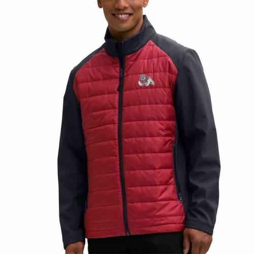 VANTAGE APPAREL スケートボード ハイブリッド メンズファッション コート ジャケット メンズ 【 Fresno State Bulldogs Hybrid Full-zip Jacket - Red/black 】 Red/black