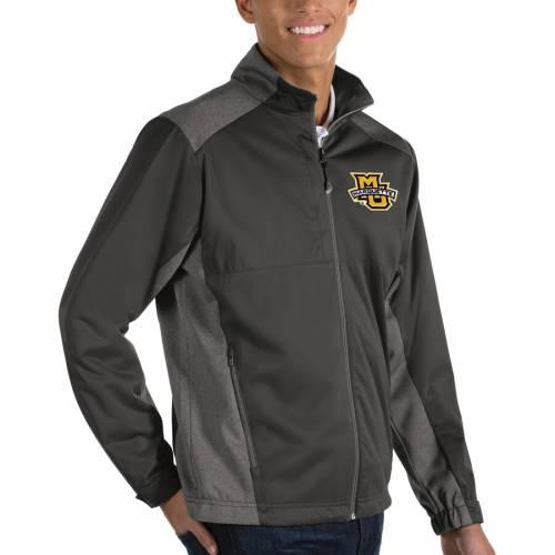 ANTIGUA マーケット イーグルス チャコール メンズファッション コート ジャケット メンズ 【 Marquette Golden Eagles Revolve Full-zip Jacket - Charcoal 】 Charcoal