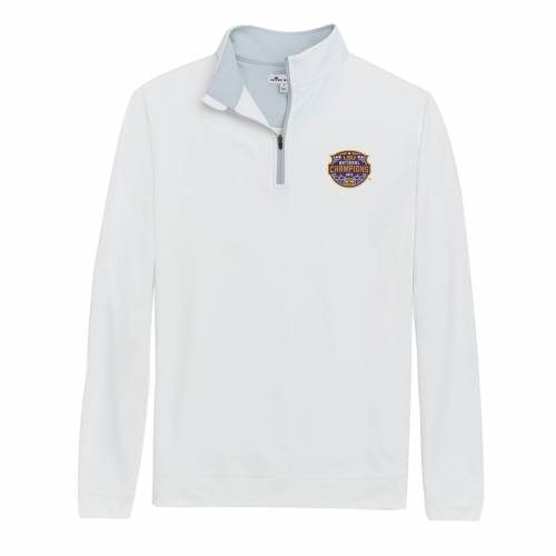 PETER MILLAR タイガース カレッジ ソリッド 白 ホワイト メンズファッション コート ジャケット メンズ 【 Lsu Tigers College Football Playoff 2019 National Champions Perth Solid Stretch Quarter-zip Pullover Jacket