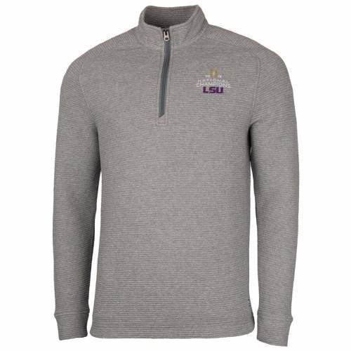 CUTTER & BUCK タイガース カレッジ 灰色 グレー グレイ メンズファッション コート ジャケット メンズ 【 Lsu Tigers Cutter And Buck College Football Playoff 2019 National Champions Coastal Half-zip Pullover Jacke