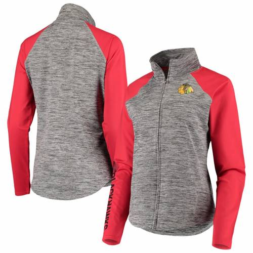 G-III 4HER BY CARL BANKS シカゴ レディース 【 Chicago Blackhawks Womens Energize Full-zip Jacket - Gray/red 】 Gray/red