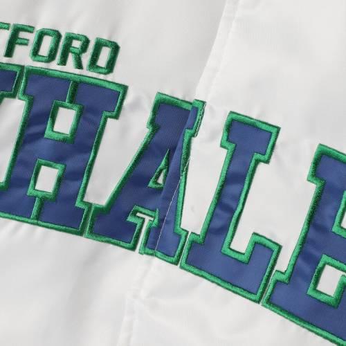 スターター STARTER サテン メンズファッション コート ジャケット メンズ 【 Hartford Whalers Dugout Championship Satin Full-snap Jacket - White/blue 】 White/blue