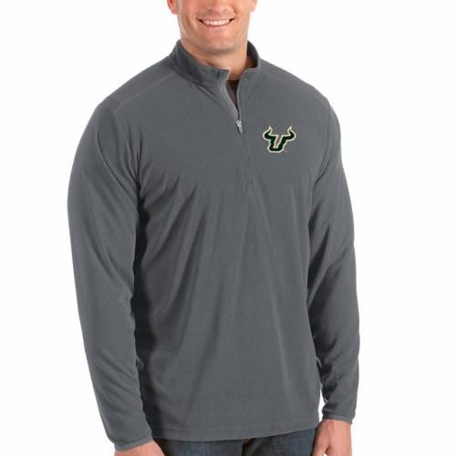 ANTIGUA フロリダ ブルズ メンズファッション コート ジャケット メンズ 【 South Florida Bulls Big And Tall Glacier Half-zip Pullover Jacket - Black/gray 】 Gray