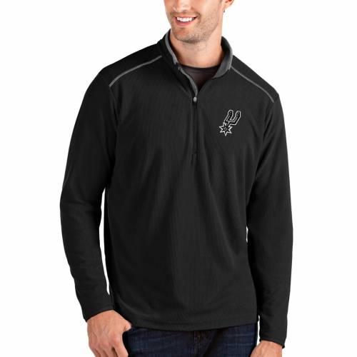 ANTIGUA スパーズ メンズファッション コート ジャケット メンズ 【 San Antonio Spurs Big And Tall Glacier Quarter-zip Pullover Jacket - Black/gray 】 Black