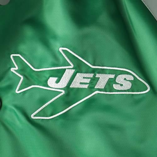 スターター STARTER ジェッツ サテン メンズファッション コート ジャケット メンズ 【 New York Jets Lead Off Satin Varsity Jacket - Green/gray 】 Green/gray