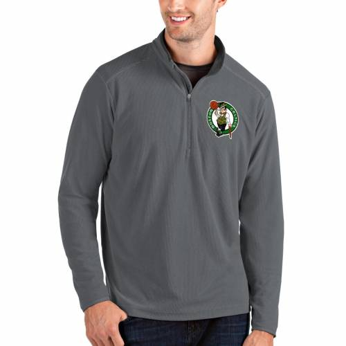 ANTIGUA ボストン セルティックス メンズファッション コート ジャケット メンズ 【 Boston Celtics Big And Tall Glacier Quarter-zip Pullover Jacket - Black/gray 】 Gray