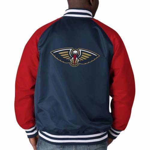 スターター STARTER サテン メンズファッション コート ジャケット メンズ 【 New Orleans Pelicans Point Guard Satin Full-snap Jacket - Navy/red 】 Navy/red
