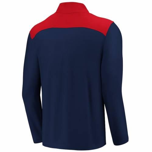 FANATICS BRANDED アトランタ ブレーブス メンズファッション コート ジャケット メンズ 【 Atlanta Braves Iconic Clutch Quarter-zip Pullover Jacket - Navy/red 】 Navy/red