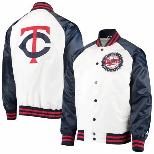 スターター STARTER ミネソタ ツインズ メンズファッション コート ジャケット メンズ 【 Minnesota Twins Clean-up Hitter Full-snap Jacket - White/navy 】 White/navy