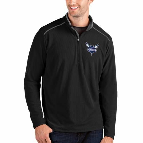 ANTIGUA シャーロット ホーネッツ メンズファッション コート ジャケット メンズ 【 Charlotte Hornets Big And Tall Glacier Quarter-zip Pullover Jacket - Black/gray 】 Black