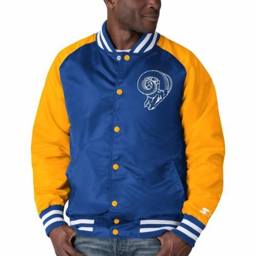 スターター STARTER ラムズ ラグラン サテン メンズファッション コート ジャケット メンズ 【 Los Angeles Rams Lead-off Raglan Satin Varsity Jacket - Royal/gold 】 Royal/gold
