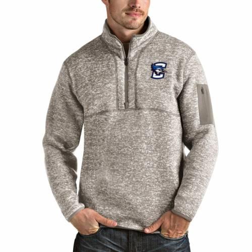 ANTIGUA メンズファッション コート ジャケット メンズ 【 Creighton Bluejays Fortune Half-zip Pullover Jacket - Oatmeal 】 Oatmeal