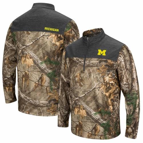 COLOSSEUM ミシガン メンズファッション コート ジャケット メンズ 【 Michigan Wolverines Outfitter Quarter-zip Pullover Jacket - Camo 】 Camo