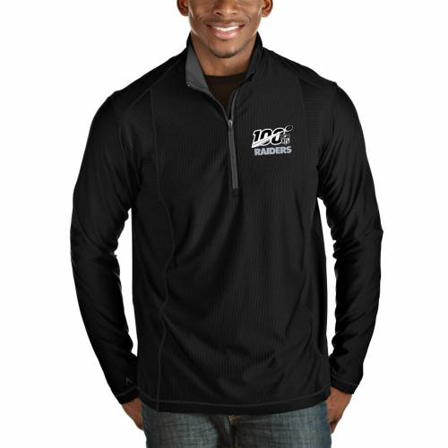 ANTIGUA レイダース メンズファッション コート ジャケット メンズ 【 Las Vegas Raiders Nfl 100 Tempo Half-zip Pullover Jacket - Black/steel 】 Black/steel
