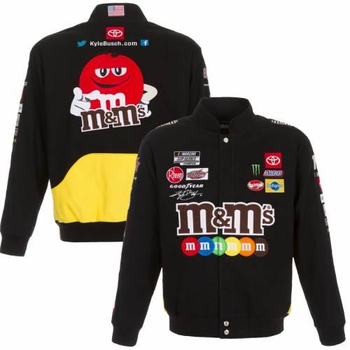 JH DESIGN 黒 ブラック メンズファッション コート ジャケット メンズ 【 Kyle Busch Mandms 2020 Full-snap Twill Uniform Jacket - Black 】 Black