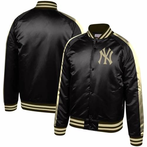 ミッチェル&ネス MITCHELL & NESS ヤンキース ラグラン 黒 ブラック メンズファッション コート ジャケット メンズ 【 New York Yankees Mitchell And Ness Colorblocked Full-snap Raglan Jacket - Black 】 Black
