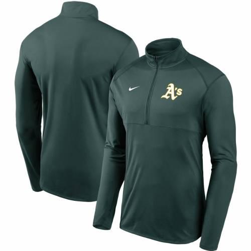 ナイキ NIKE オークランド チーム ロゴ エレメント パフォーマンス 緑 グリーン メンズファッション コート ジャケット メンズ 【 Oakland Athletics Team Logo Element Performance Half-zip Pullover Jacket -