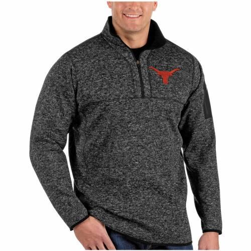 ANTIGUA テキサス ヘザー 黒 ブラック メンズファッション コート ジャケット メンズ 【 Texas Longhorns Fortune Big And Tall Quarter-zip Pullover Jacket - Heather Black 】 Heather Black