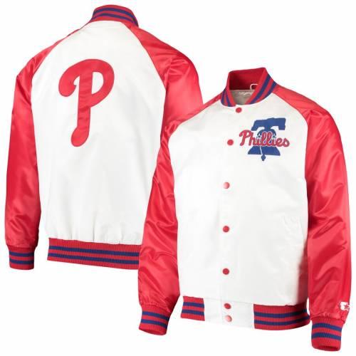 スターター STARTER フィラデルフィア フィリーズ メンズファッション コート ジャケット メンズ 【 Philadelphia Phillies Clean-up Hitter Full-snap Jacket - White/red 】 White/red