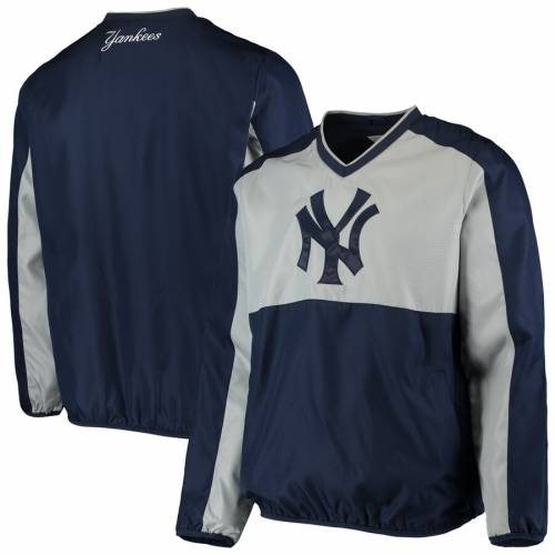 G-III SPORTS BY CARL BANKS ヤンキース ハイ ヒート ブイネック メンズファッション コート ジャケット メンズ 【 New York Yankees High Heat V-neck Pullover Jacket - Navy/gray 】 Navy/gray