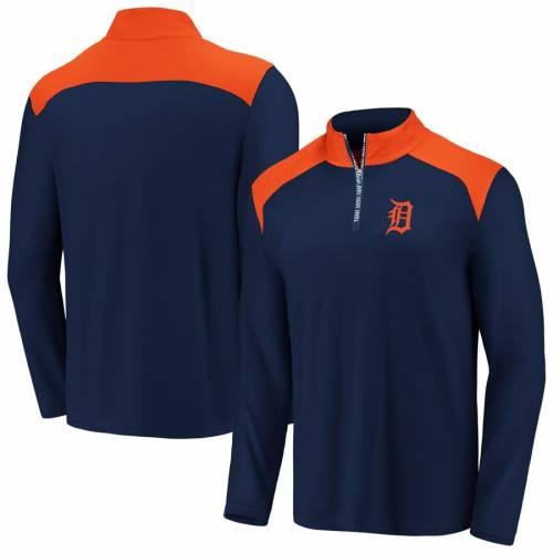 FANATICS BRANDED デトロイト タイガース チーム スクリメージ メンズファッション コート ジャケット メンズ 【 Detroit Tigers Big And Tall Team Scrimmage Quarter-zip Pullover Jacket - Navy/orange 】 Navy/orange