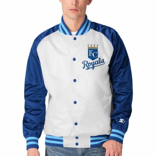 スターター STARTER カンザス シティ ロイヤルズ メンズファッション コート ジャケット メンズ 【 Kansas City Royals Clean-up Hitter Full-snap Jacket - White/royal 】 White/royal
