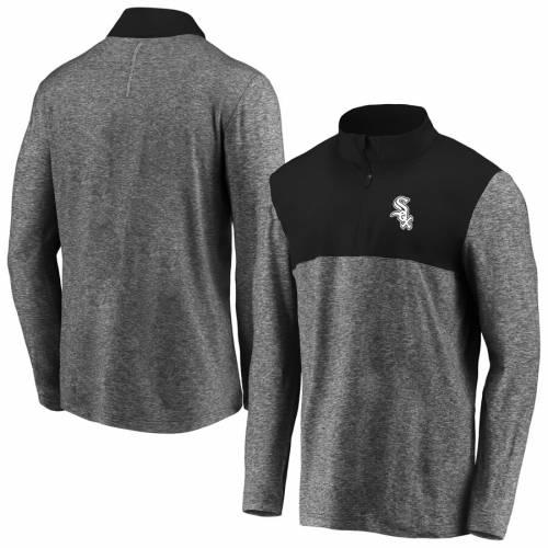 FANATICS BRANDED シカゴ 白 ホワイト 黒 ブラック メンズファッション コート ジャケット メンズ 【 Chicago White Sox Iconic Marble Clutch Half-zip Pullover Jacket - Black 】 Black