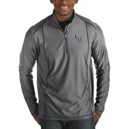 ANTIGUA コロラド ロッキーズ チャコール メンズファッション コート ジャケット メンズ 【 Colorado Rockies Tempo Half-zip Pullover Jacket - Heathered Charcoal 】 Charcoal