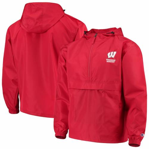 チャンピオン CHAMPION チャンピオン ウィスコンシン 赤 レッド 【 RED CHAMPION WISCONSIN BADGERS PACKABLE JACKET 】 メンズファッション コート ジャケット