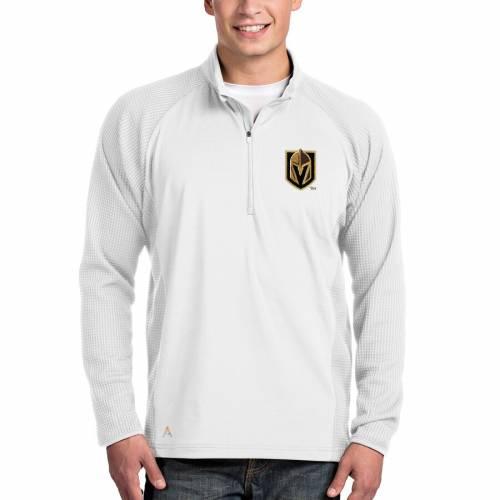 ANTIGUA 白 ホワイト メンズファッション コート ジャケット メンズ 【 Vegas Golden Knights Sonar Quarter-zip Pullover Jacket - White 】 White