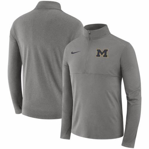 ナイキ NIKE ミシガン コア 灰色 グレー グレイ メンズファッション コート ジャケット メンズ 【 Michigan Wolverines Core Half-zip Pullover Jacket - Heathered Gray 】 Heathered Gray