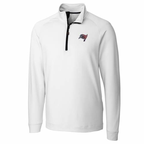 CUTTER & BUCK バッカニアーズ ニット 赤 レッド メンズファッション コート ジャケット メンズ 【 Tampa Bay Buccaneers Cutter And Buck Americana Jackson Knit Quarter-zip Pullover Jacket - Red 】 White