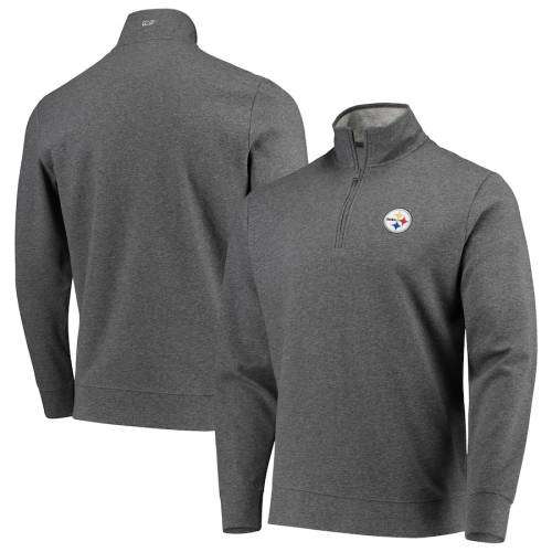 VINEYARD VINES ピッツバーグ スティーラーズ ソリッド チャコール メンズファッション コート ジャケット メンズ 【 Pittsburgh Steelers Saltwater Solid Tri-blend Quarter-zip Jacket - Charcoal 】 Charcoal