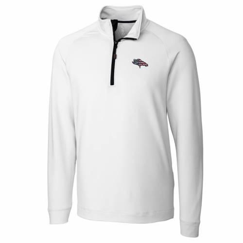 CUTTER & BUCK デンバー ブロンコス ニット 赤 レッド メンズファッション コート ジャケット メンズ 【 Denver Broncos Cutter And Buck Americana Jackson Knit Quarter-zip Pullover Jacket - Red 】 White