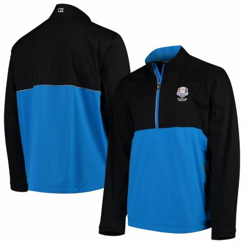 CUTTER & BUCK スリーブ メンズファッション コート ジャケット メンズ 【 2020 Ryder Cup Cutter And Buck Fairway Long Sleeve Half-zip Pullover Jacket - Black/blue 】 Black/blue