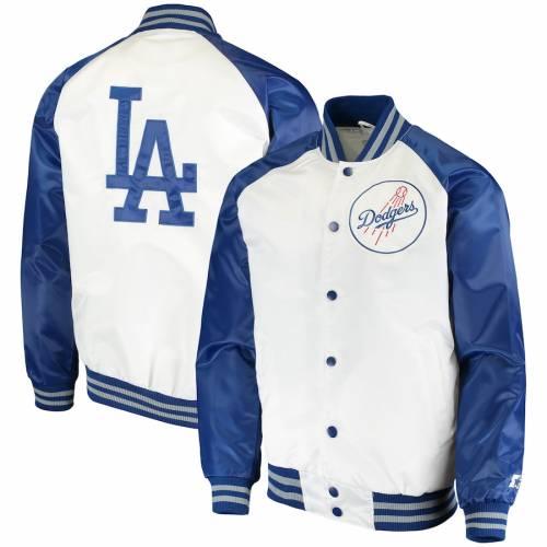 スターター STARTER ドジャース メンズファッション コート ジャケット メンズ 【 Los Angeles Dodgers Clean-up Hitter Full-snap Jacket - White/royal 】 White/royal
