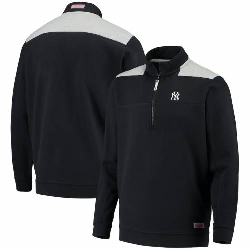 VINEYARD VINES ヤンキース メンズファッション コート ジャケット メンズ 【 New York Yankees Contrast Color Shep Shirt Half-zip Jacket - Black/gray 】 Black/gray